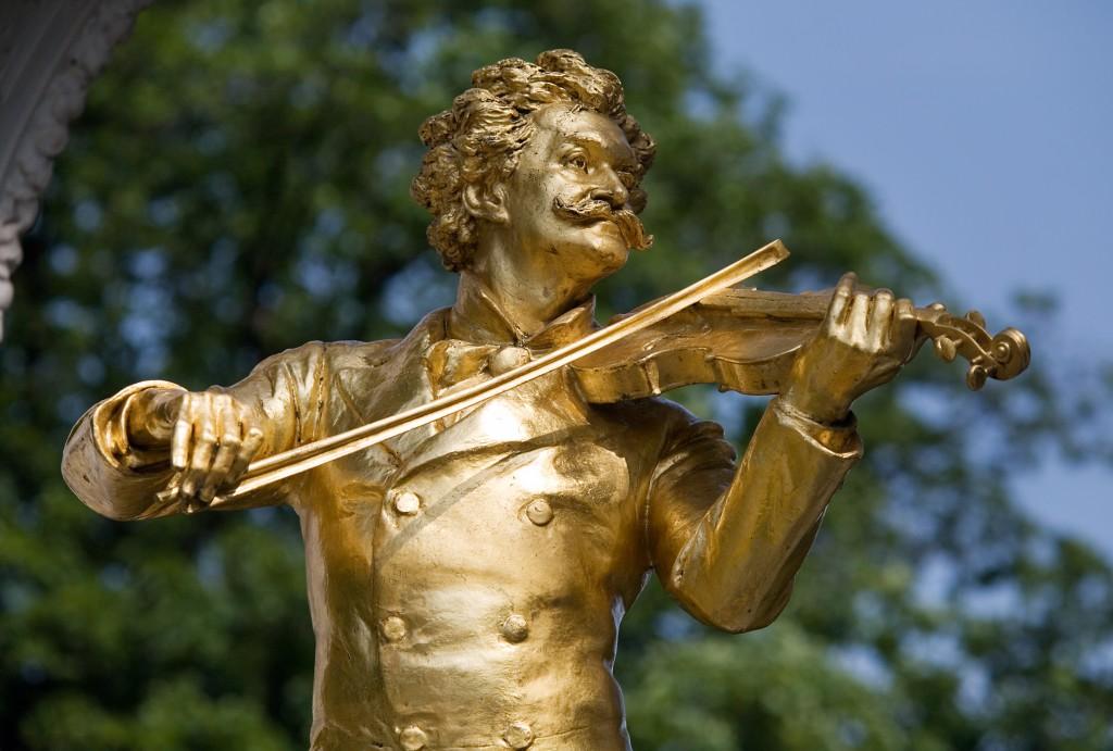 Johann Strauss Monument in Stadt Park. Vienna, Austria.